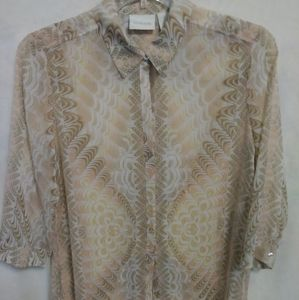 CHICO'S Size 1 fully sheer knee length blouse